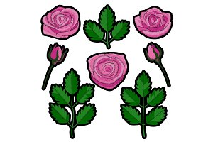 Rose Embroidery Patch Set