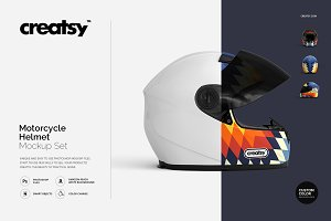 Motorcycle Helmet Mockup Set