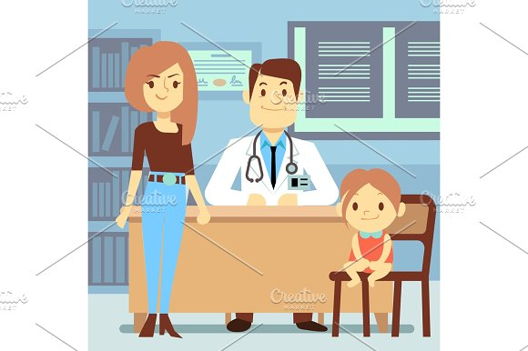 Baby Girl And Her Mother Visiting Pediatrician Kids Medicine Concept