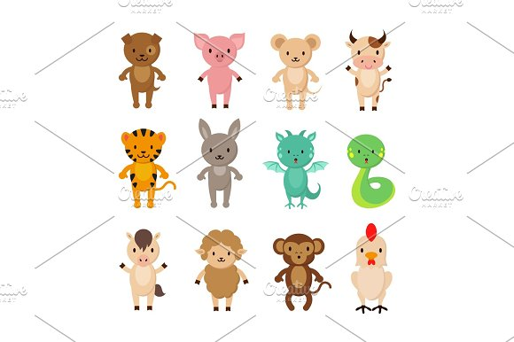 Chinese Zodiac Animals Cartoon Vector Characters Set