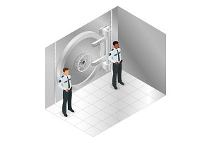 Closed steel bank vault door. Closed door to the bank s storehouse and two guards. Vector isometric illustration.