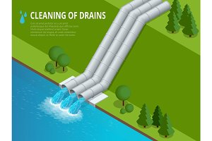 Cleaning of drains Cleaning of drains Discharge of liquid chemical waste. The danger for the environment. Flat isometric illustration For infographics and design