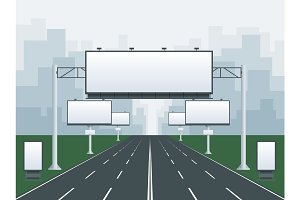 Big blank billboard in cityscape background shape. Billboard advertisement commercial blank. Different perspectives advertising construction for outdoor advertising big billboard