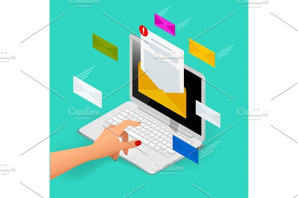 Incoming Email Isometric Vector Concept Receiving Messages Laptop With Envelope And Document On A Screen Email Email Marketing Internet Advertising Concepts