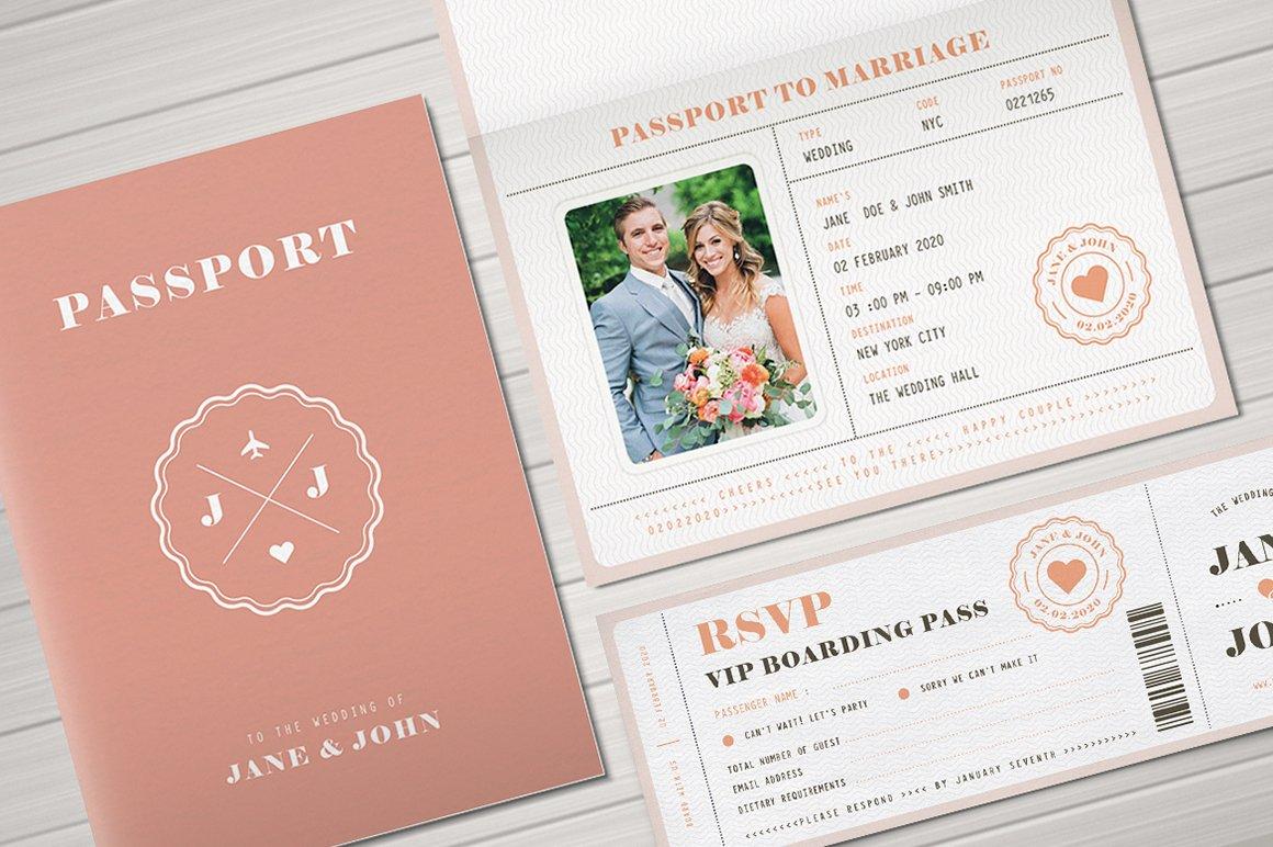 Destination Wedding Invitations Passport: Pastel Passport Wedding Invitation