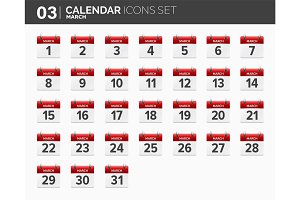 March. Calendar icons set. Date and time. 2018 year.