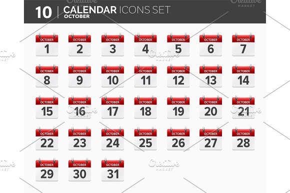 October Calendar Icons Set Date And Time 2018 Year