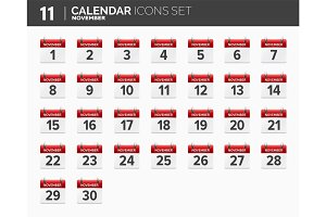 November. Calendar icons set. Date and time. 2018 year.