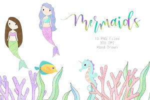 Sketched Mermaid and Friends Clipart