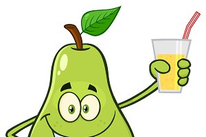 Pear Holding Up A Glass Of Juice