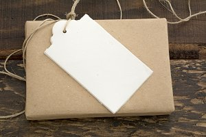 gift box wrapped in recycled paper w