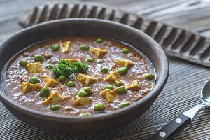 Bowl of mattar paneer