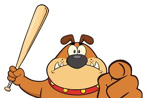 Angry Brown Bulldog Holding A Bat