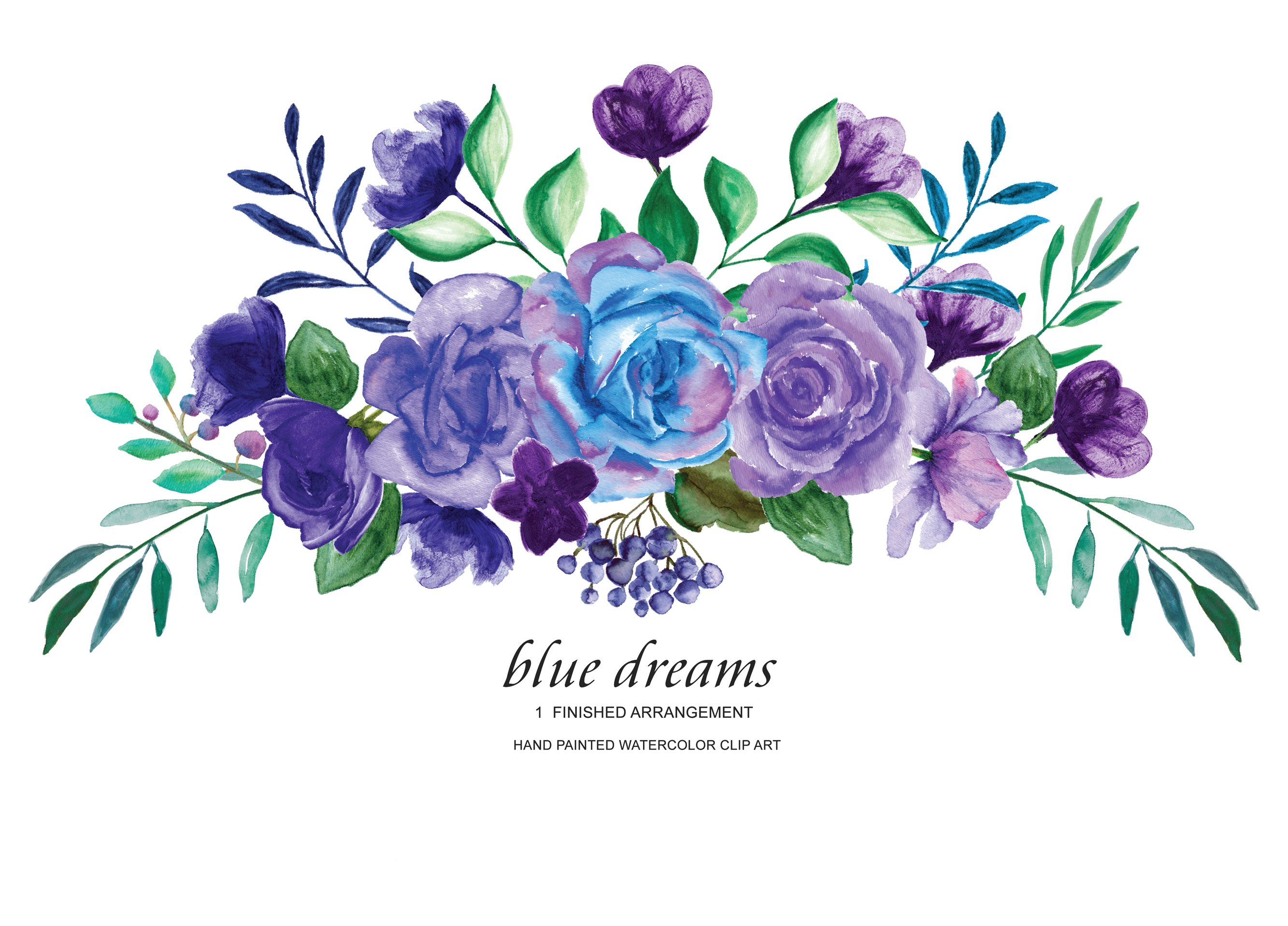 Blue Purple Roses Clipart ~ Illustrations ~ Creative Market