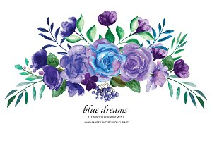 Blue Purple Roses Clipart