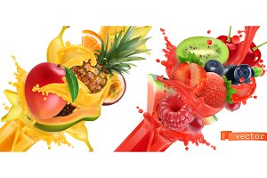 Fruit burst. Splash of juice. Vector