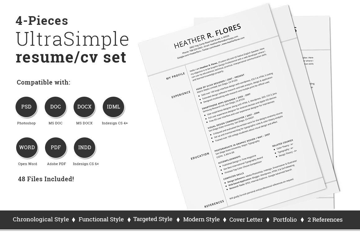 4 Pieces Resumecv Set Template Resume Templates Creative Market