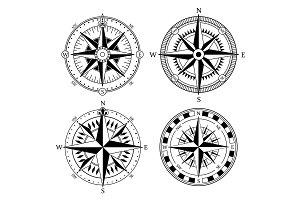 Vintage nautical compass signs vector set, retro direction symbols