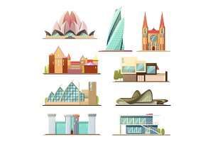 Set of Line commercial and residential buildings, outline vector design, make your own city with these collection