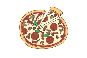 Pizza hand drawn doodle color illustration