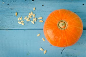 Autumn pumpkin on wooden background