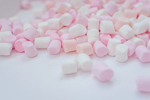 Colorful mini marshmallows background