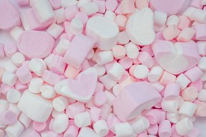 Colorful different marshmallows background