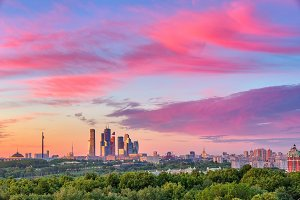 Moscow City at sunset