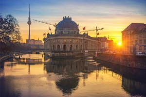 Museum Island on Spree river at sunrise, Berlin