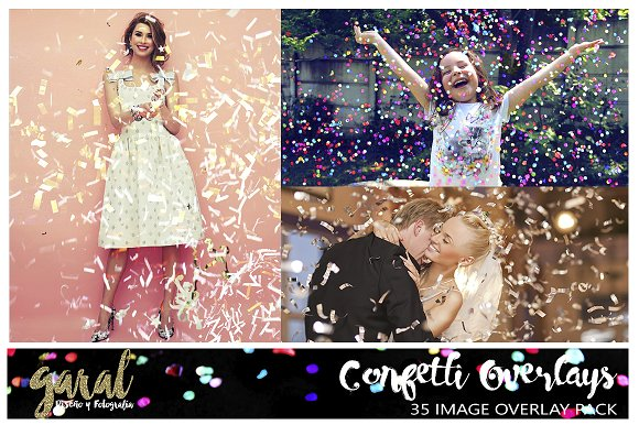 CONFETTI Overlays 35 Photo Overlays