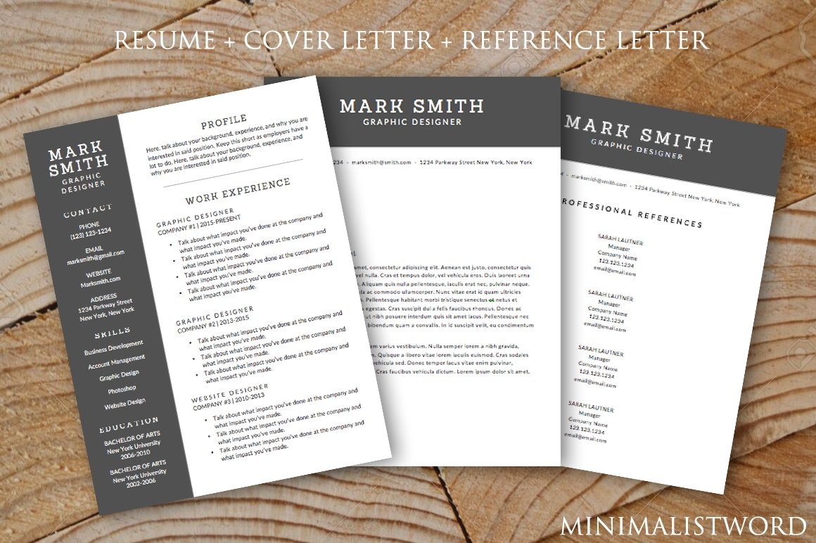 Resume Cover Letter References 3Pack ~ Resume Templates ...