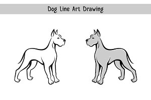 Dog line art drawing