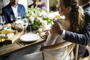 Bride and Groom Having Meal