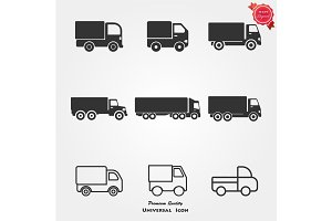 Delivery Truck icons on white background. Vector illustration.