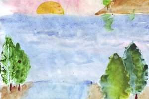 Banner in watercolor style. Marine theme. Coast, sand, stones, island