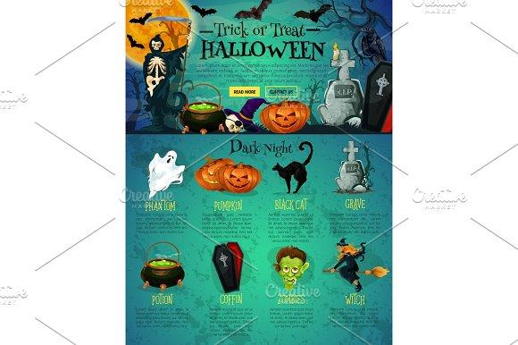 Halloween Landing Page Template For Website Design Illustrations