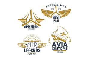 Vector retro icons for aviation airplane pilots