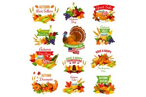 Thanksgiving autumn vector isolated sale icons