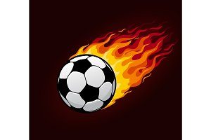 Vector fire flying football ball for soccer poster