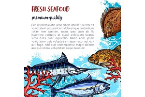Vector poster of fresh seafood and fish food