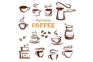 Vector icons set of coffee cups and makers