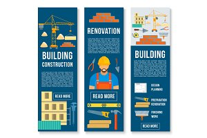 Vector building construction work tools banners