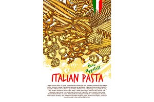 Pasta and Italian macaroni vector poster