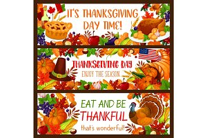 Autumn holiday banner set for Thanksgiving design