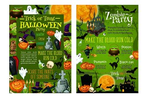 Halloween party invitation vector posters