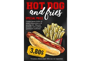 Fast food hot dog french fries vector price card