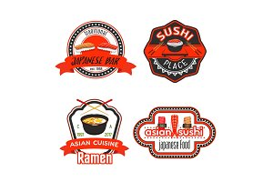 Vector icons for Japanese sushi restaurant