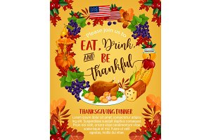 Thanksgiving day vector American greeting poster