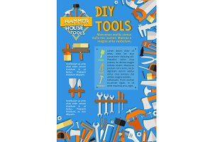Vector DIY work tools poster for home repair
