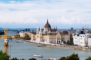 Scenic view of Budapest riverfront